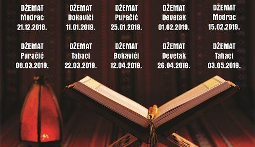 Raspored održavanja Halke hadisa i tefsira po džematima